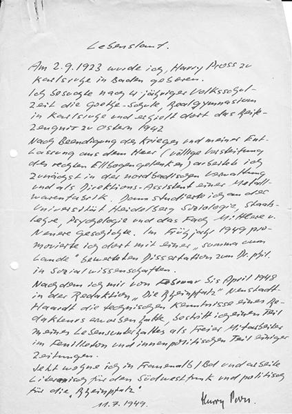 handschriftlicher lebenslauf 1949 - Handschriftlicher Lebenslauf